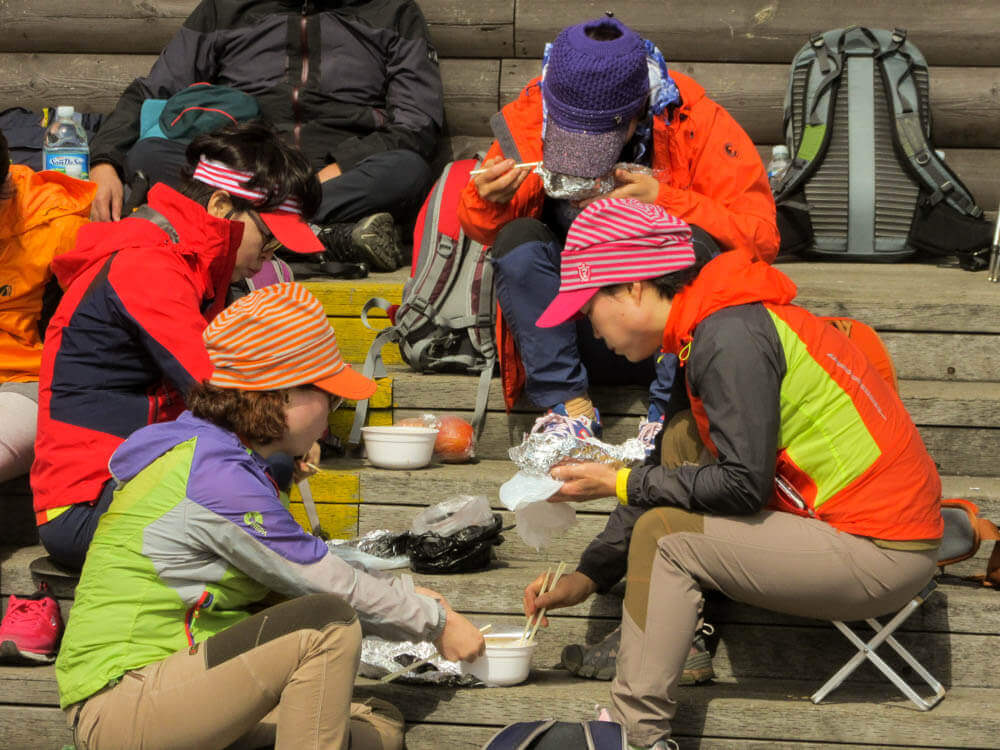 Koreans during their lunch break while hiking in South Korea