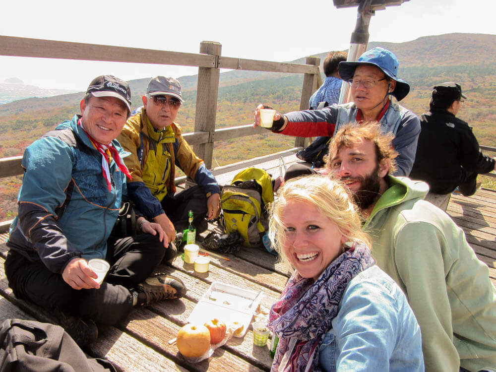 Lunch during a hike in South Korea on top van mount Hallasan