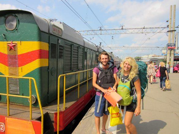 Wij op Yaroslavsky station in Moskou, aan het begin van onze reis met de Transsiberië Express