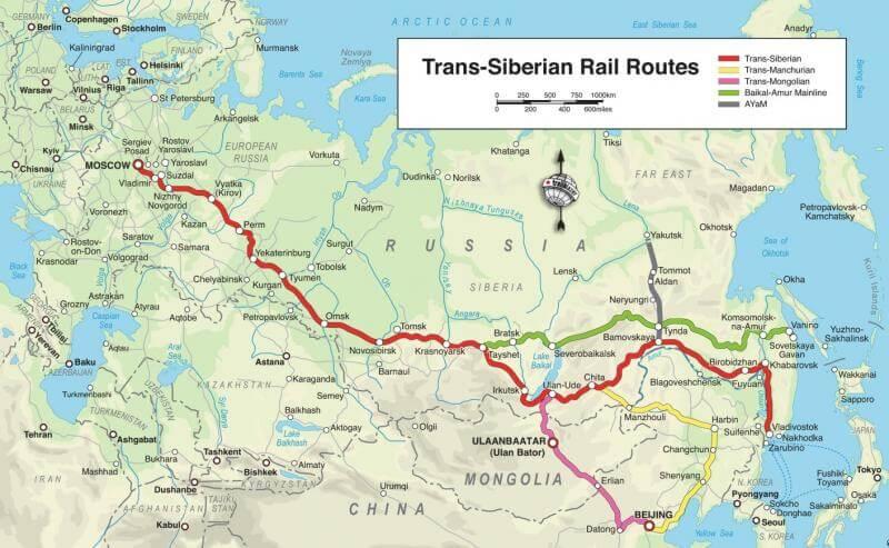 Kaart met routes van de Transsiberië Express
