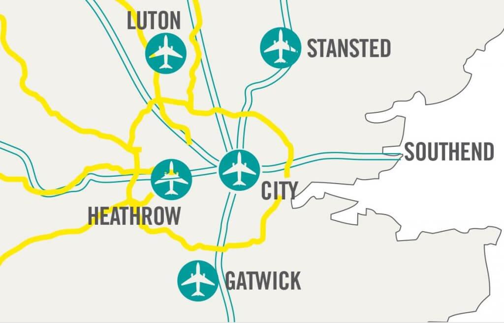 Overzicht van vliegvelden in Londen