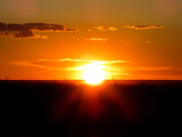 Orange glow of the sunset in the Gobi desert