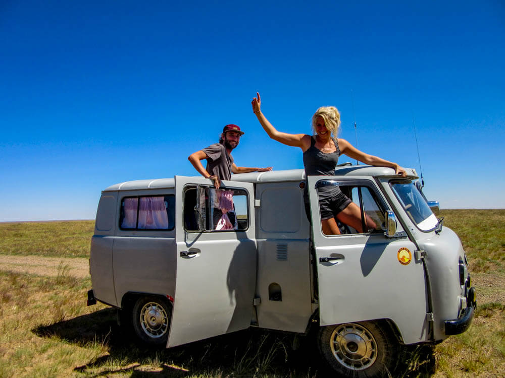 Tour through the Gobi desert in Mongolia with a Russian 4WD van