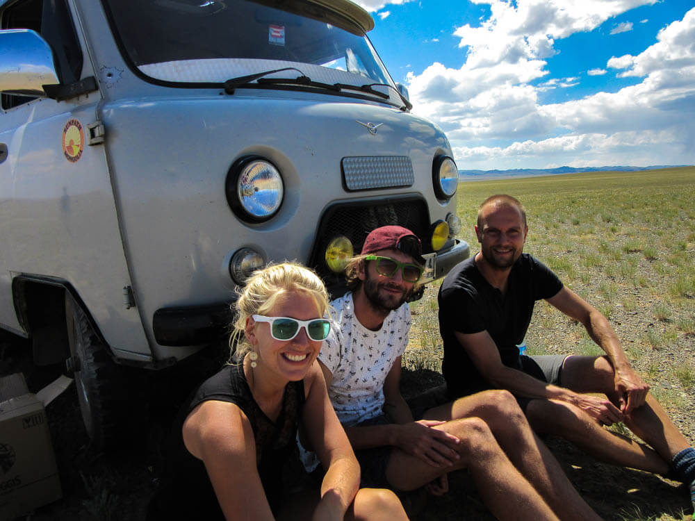 In front of the Russian 4WD van in the Gobi desert in Mongolia